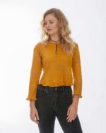 'Clio' Long Sleeve Cotton Knit Crop Top – Acacia (A)
