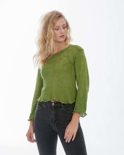 'Clio' Long Sleeve Cotton Knit Crop Top – Fern (Fn)