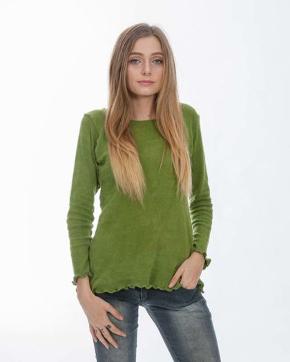 'Isis' Cotton Knit Sweater – Fern (Fn)