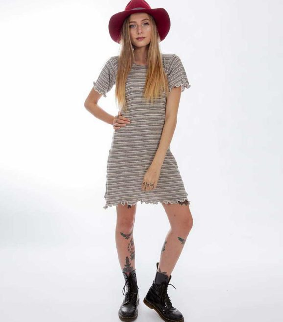 'Gaia' T-Dress Neutral Stripe
