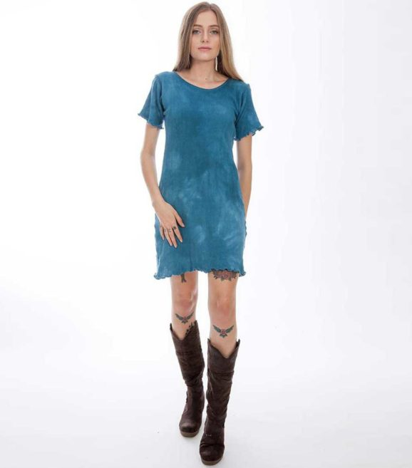 'Gaia' Cotton Knit T-Dress Ocean