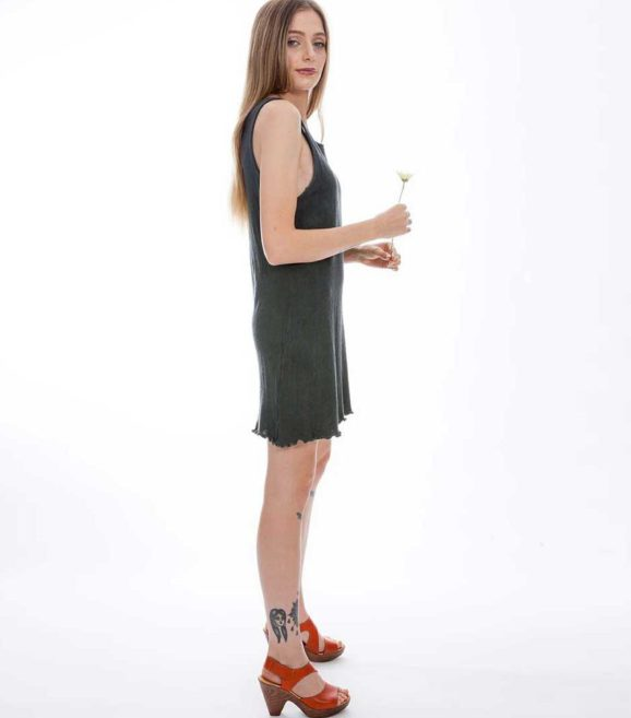 'Venus' Cotton Knit Singlet Dress Slate