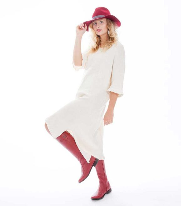 'Electra' Heavy Cotton Knit Dress Au Naturale
