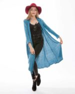 'Hera' Cotton Knit Long Jacket Ocean