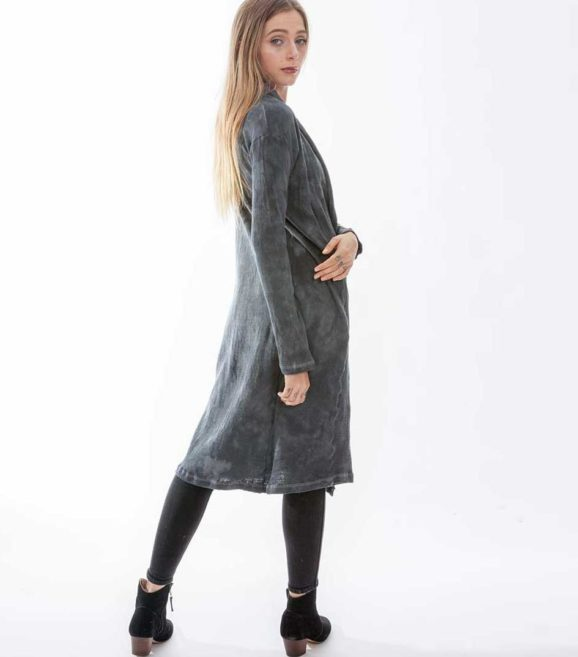 'Hera' Cotton Knit Long Jacket Slate