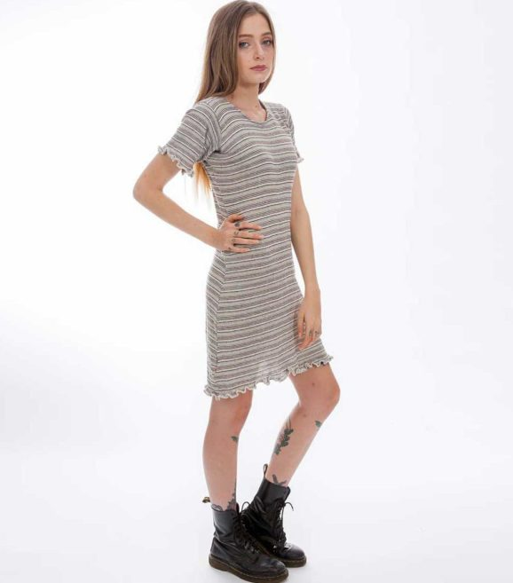 'Gaia' T- Dress Neutral Stripe