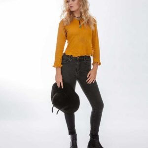 'Clio' Cotton Knit Long Sleeve Crop Top Acacia